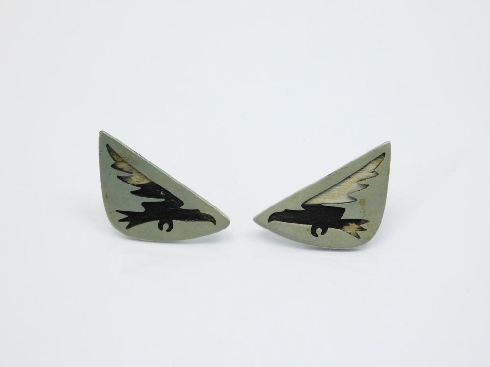 Vintage Taxco Mexico Los Castillo Pluma Azteca Bird Feather Inlay Diving Eagle Screwback Earrings
