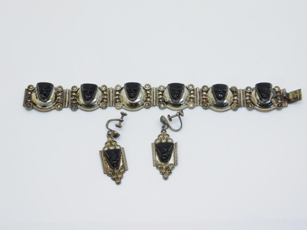 Vintage Taxco Cmb Sterling Aztec Black Onyx Face Panel Bracelet & Earrings 43.3G
