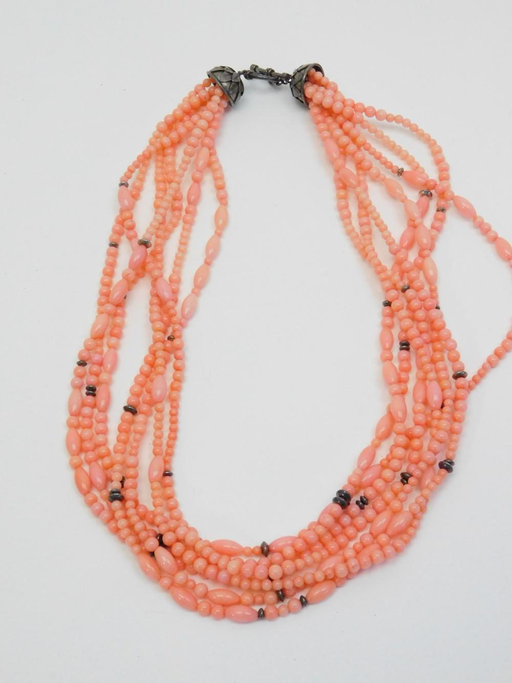 Sterling Silver Pink Coral 7 Strand Bead Necklace 89G