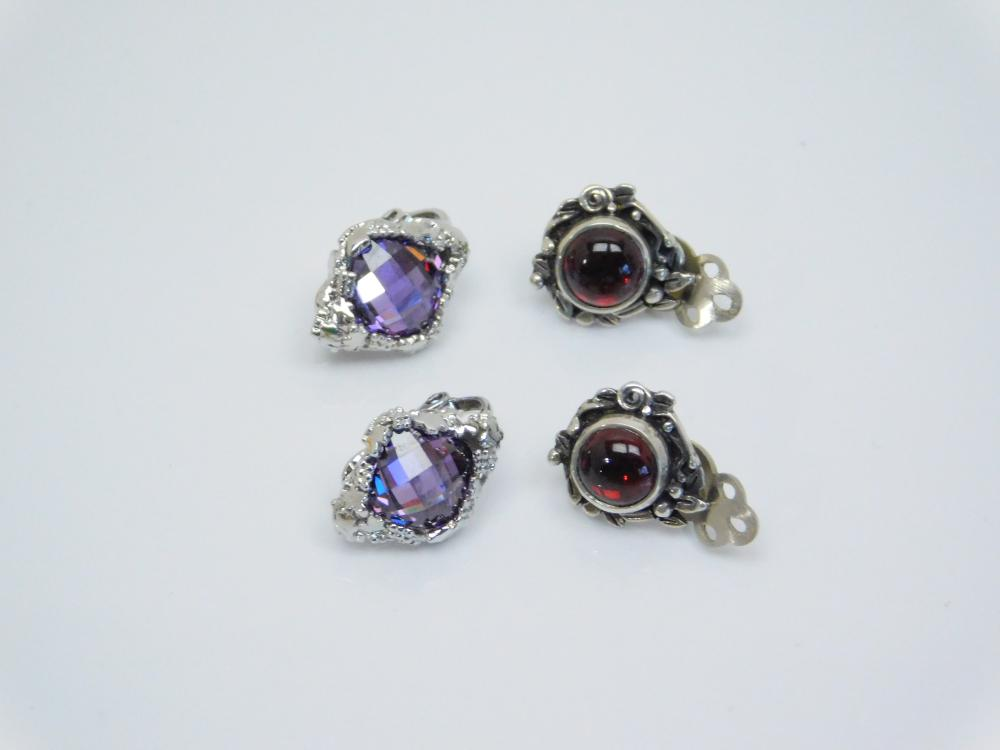 2Pr Sterling  Silver Silpada Purple & Vintage Red Stone Clip On Earrings 9.3G