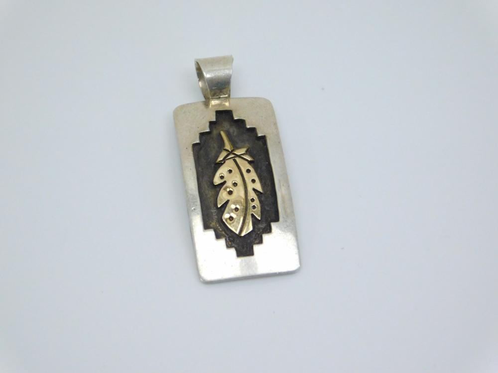 Vintage Native American Sterling Silver Goldfilled Feather Shadowbox Pendant  5.3G