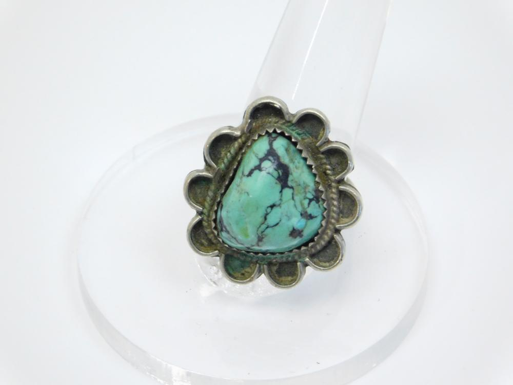 Vintage  Native American Navajo Nickel Silver Spiderweb Turquoise Ring 8.5G Sz8
