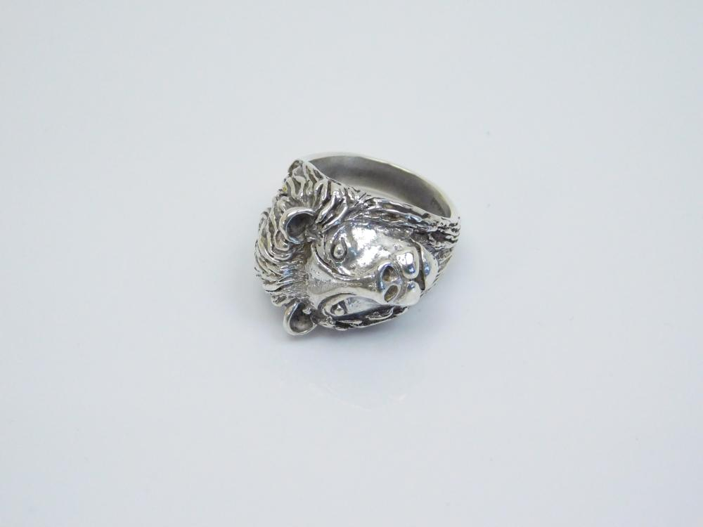 Mens Sterling Silver Chunky Lion Head 3D Ring 14.8G Sz9