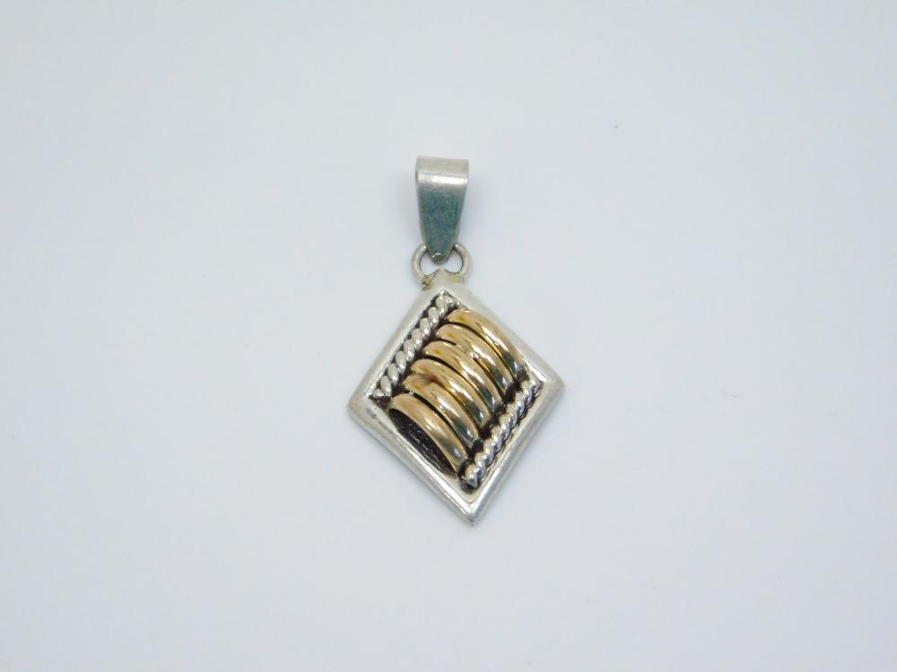 Vintage  Native American Navajo Tom Charley Sterling Goldfilled Ribbed Pendant 6.2G