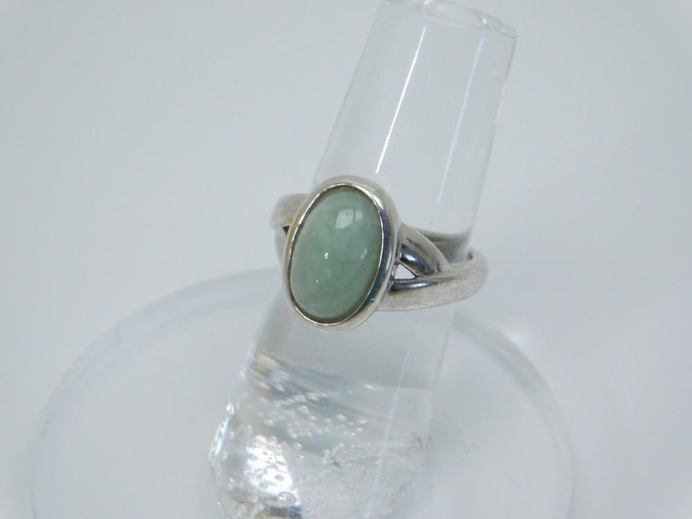 Sterling  Silver Green Jade Ring 5.6G Sz6