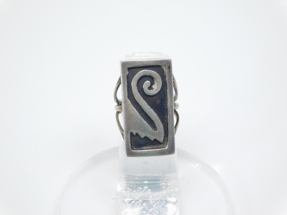 Vintage Native American Hopi Sterling Silver Tribal Design Overlay Ring 6.2G Sz5.5
