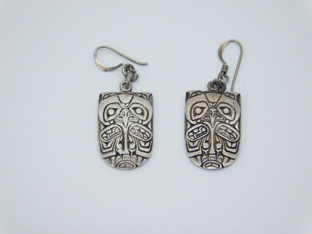 Native American Northwest Richard Shorty Eagle Sterling Owl Dangle Earrings 6.7G