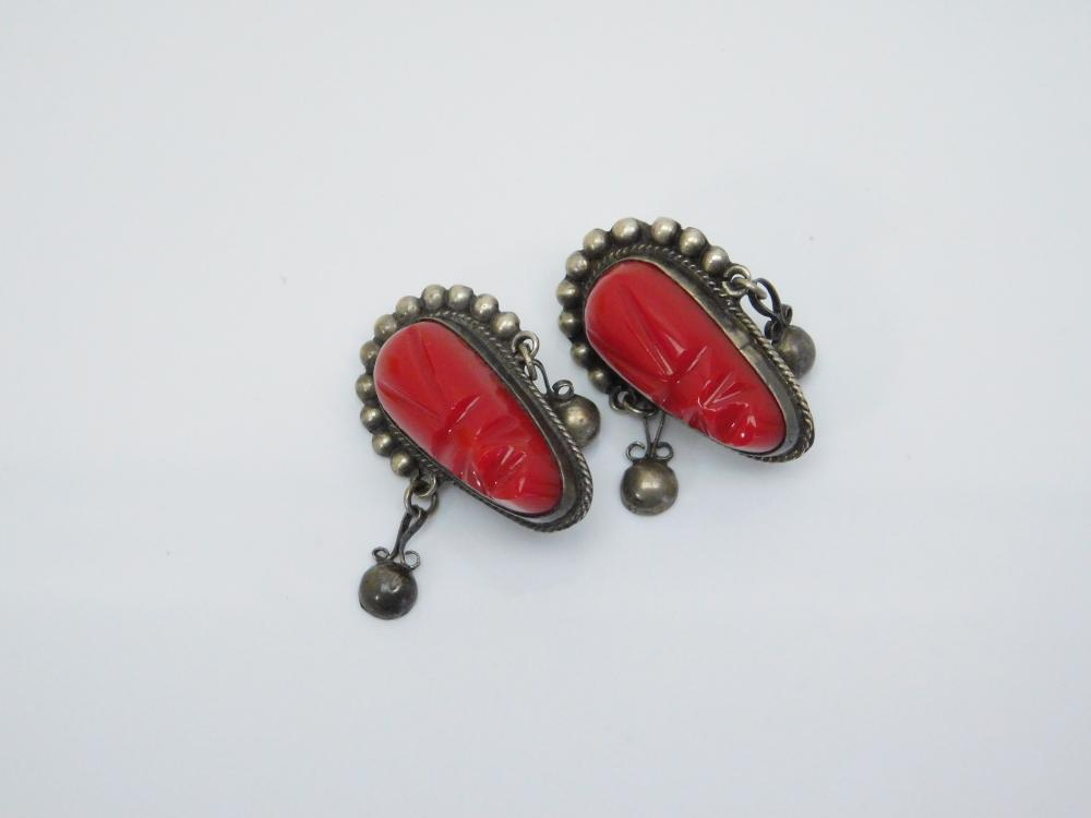 Vintage Taxco  Mexico  Sterling Silver Red Face Earrings 10.7G