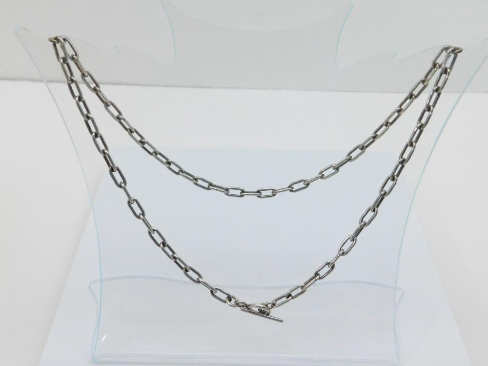 "Native American Handmade Sterling Silver Large Link 24"" Necklace 40G"