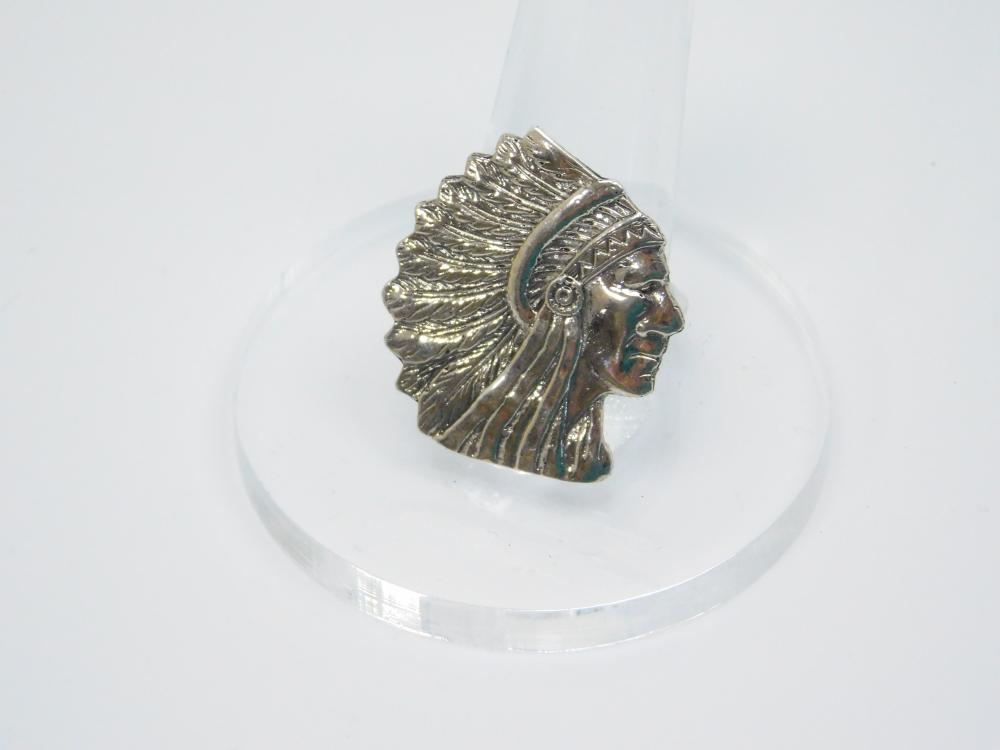 Native  American Sterling Silver Indian Chief Head Bust Ring 7.4G Sz8.5