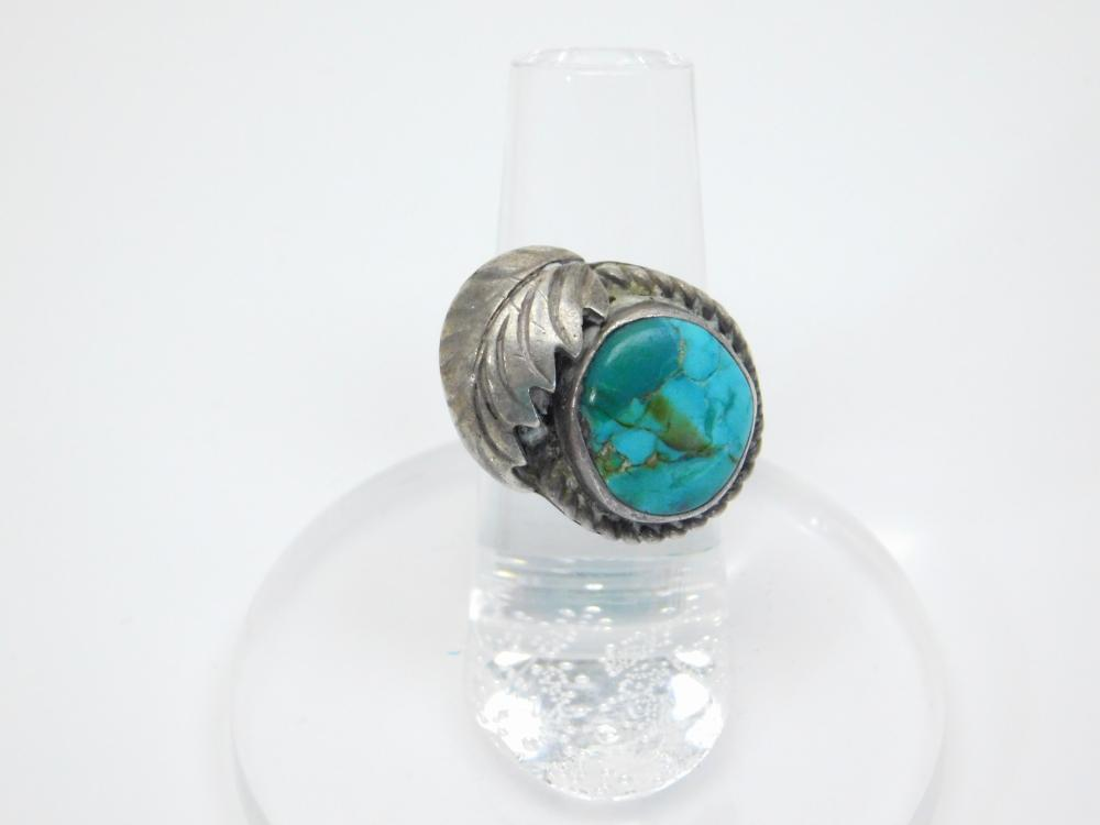 Vintage Native American Navajo Sterling Silver Turquoise Feather Ring 7.6G Sz5.5