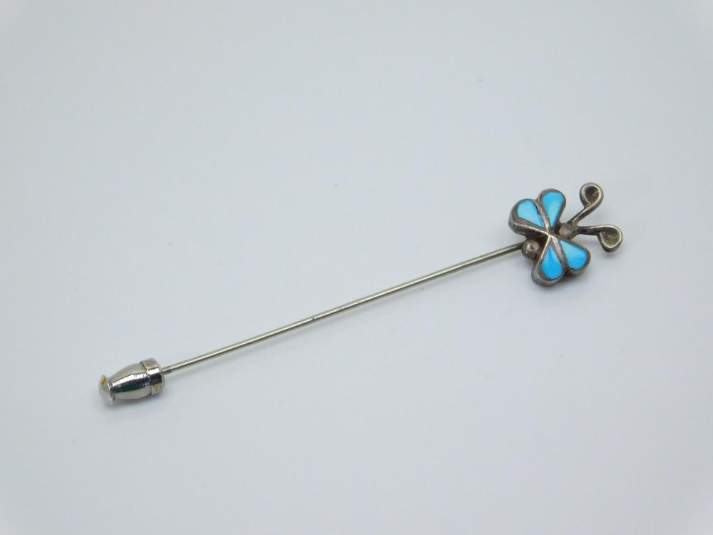 Vintage  Native American Zuni Sterling Silver Inlaid Turquoise Butterfly Stick Pin 2.5G