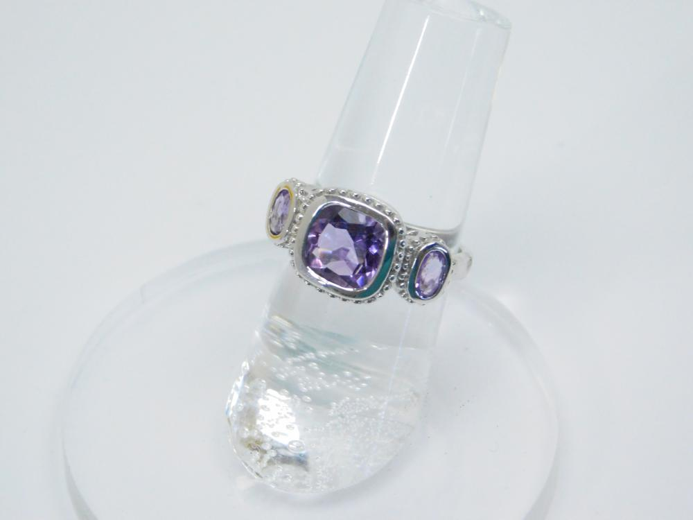 Thailand Sterling Silver Purple Amethyst Fashion Cocktail Ring 4.3G Sz6