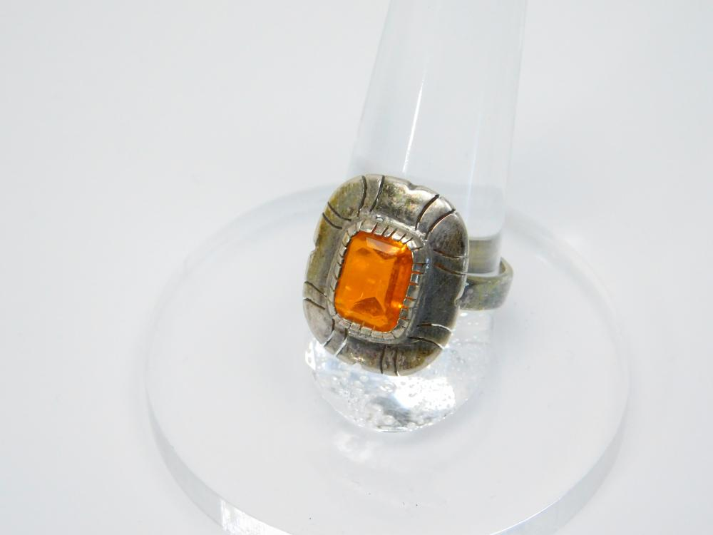 Vintage Native American Or  Mexico Sterling Silver Orange Stone Ring 4G Sz8.5