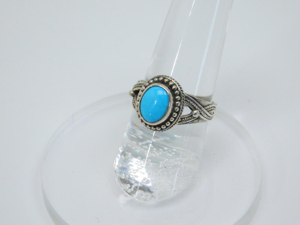 Thailand  Sterling Silver Spiderweb Turquoise Fashion Ring 4G Sz7