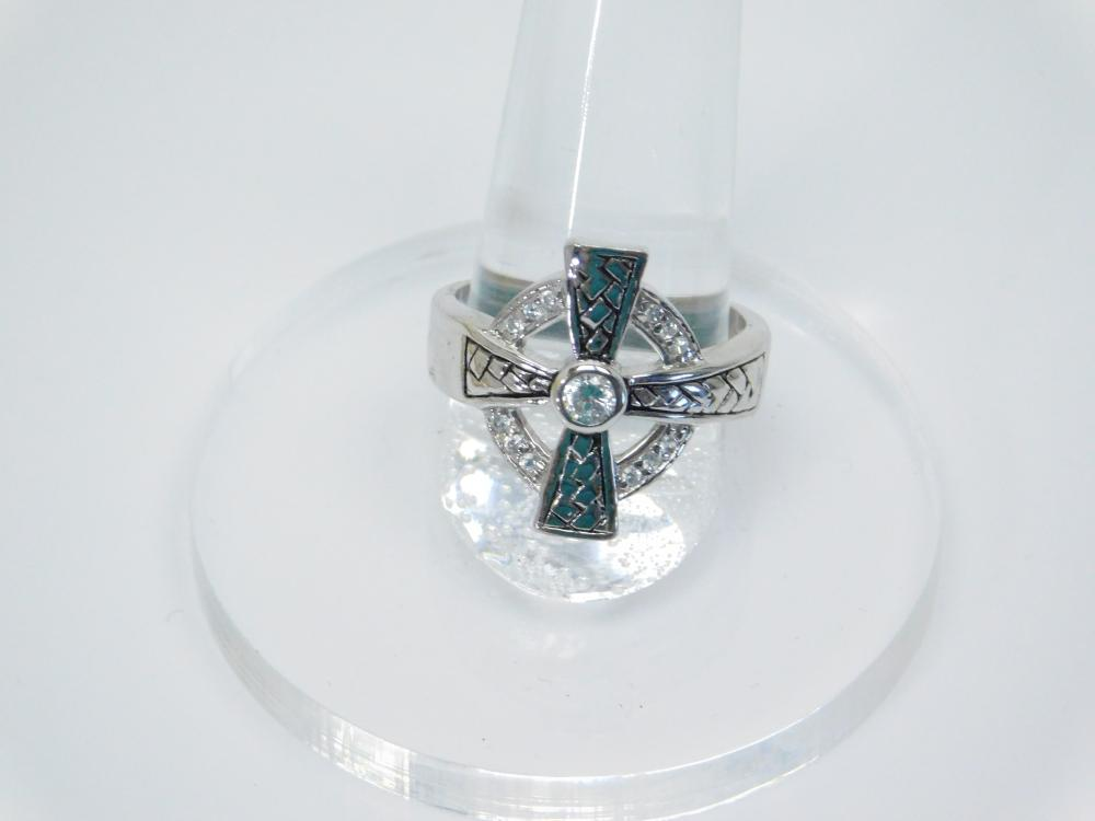 Sterling  Silver Brilliant Cz Cross Fashion Ring 6.3G Sz9.25