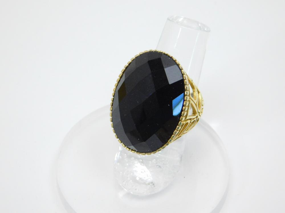 Thailand  Sterling Silver Goldtone Faceted Large Black Stone Ring 12.8G Sz6