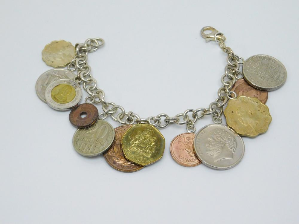 Vintage Italian Sterling Bracelet With Foreign Coin Charms 67G