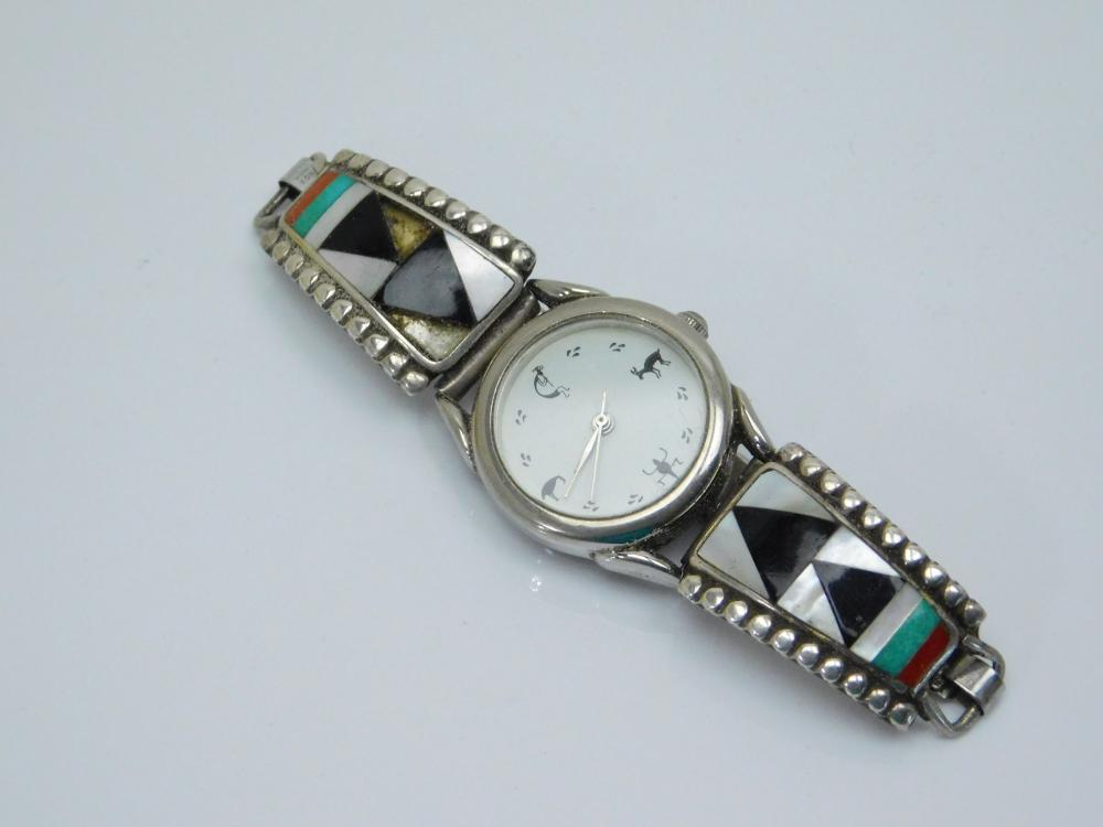 Vintage Native American Sterling Silver Inlaid Multistone Watch Tips For Repair 24G