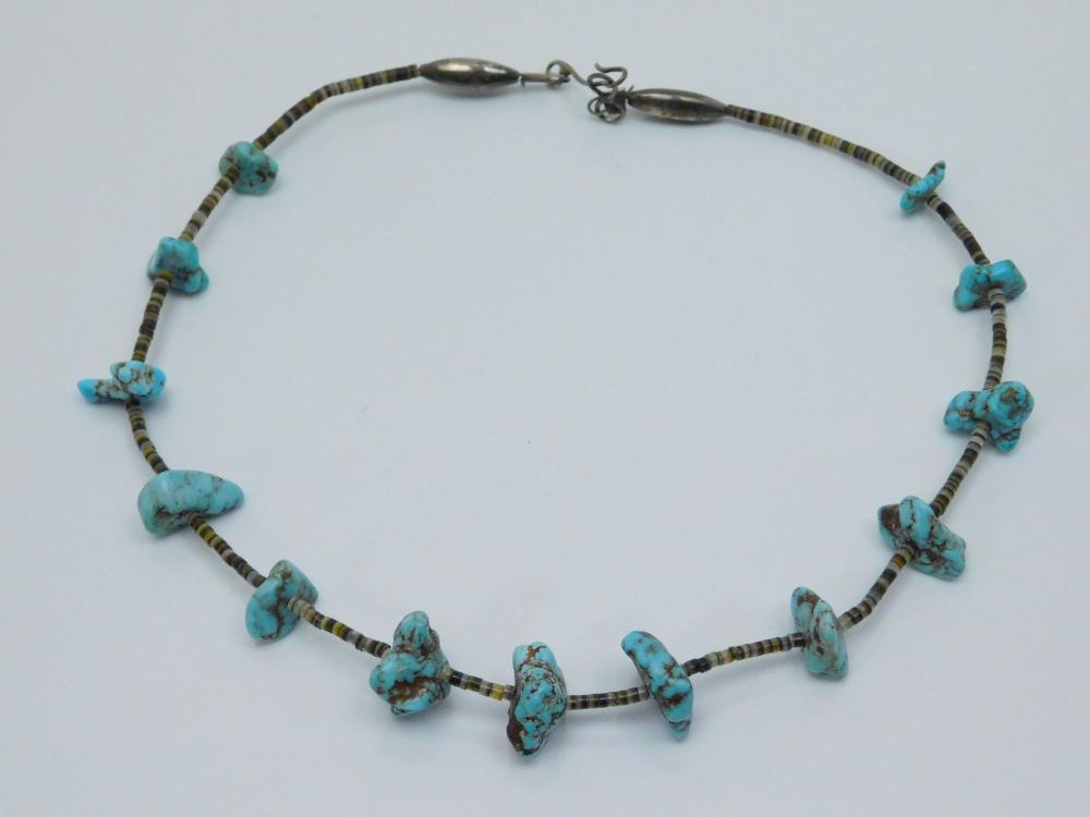 Vintage Native  American Navajo Turquoise Nugget Shell Silver Bench Bead Necklace 23G
