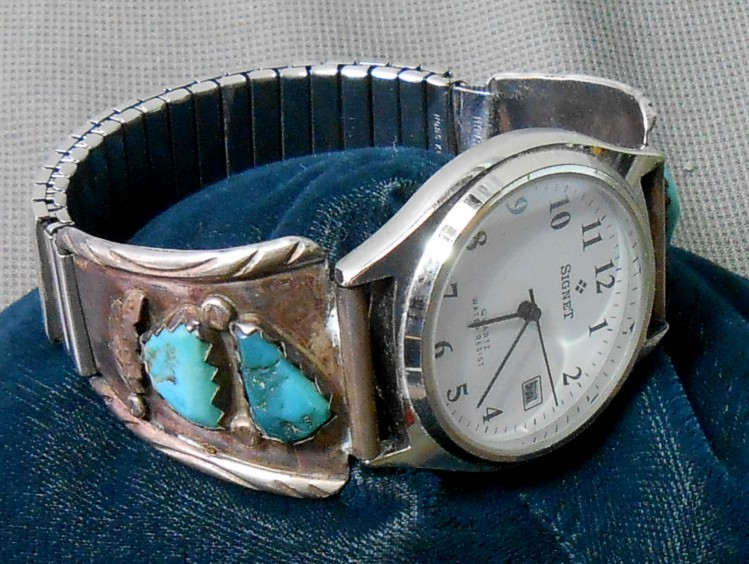Sterling Turquoise Marvelyne C Zuni Watch Tips