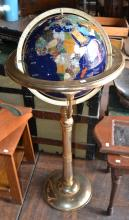 Inlaid Semi-Precious Stone Globe On Floor Standing Brass Base