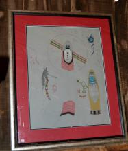 Hand-Painted And Signed Picture Of Hopi Kachina