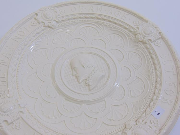 Lot 2: Mintons England 18th Century Staffordshire William Shakespeare Salt Glaze Hanging Plate
