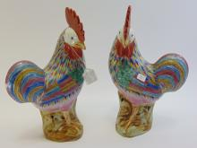 Lot 3: Pair of Art Deco Style 1950s Painted Decorative Roosters