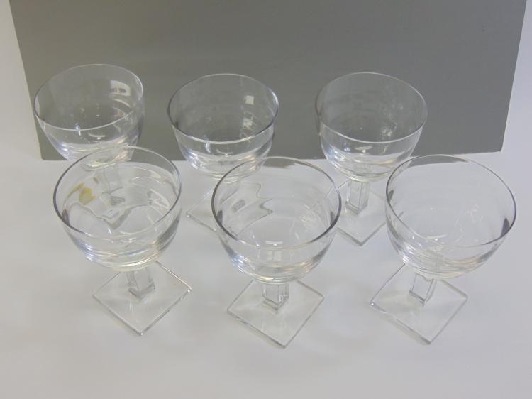 Lot 9: Set of 6 1920s Era Art Deco Crystal Goblets
