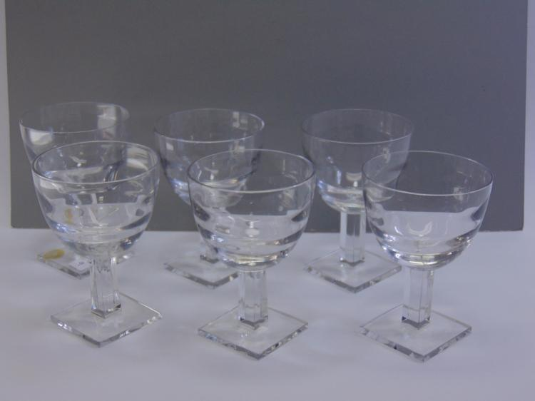 Set of 6 1920s Era Art Deco Crystal Goblets