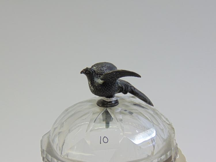 Lot 10: Antique Cut Crystal Lidded Compote with Austrian Silver Pheasant Handle