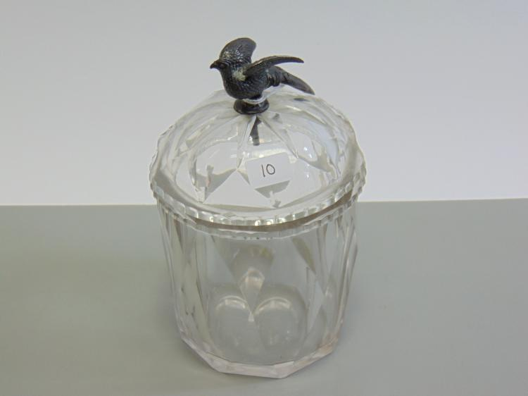 Antique Cut Crystal Lidded Compote with Austrian Silver Pheasant Handle
