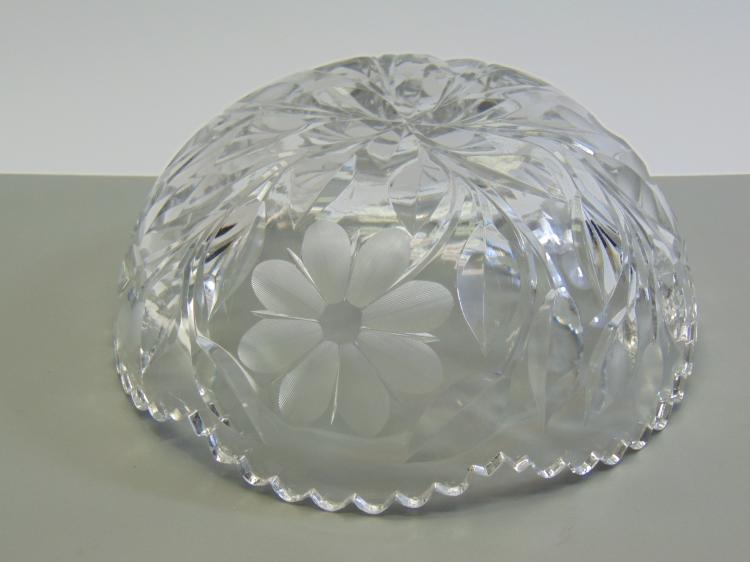 Lot 12: Heavy Cut Crystal Flower Bowl