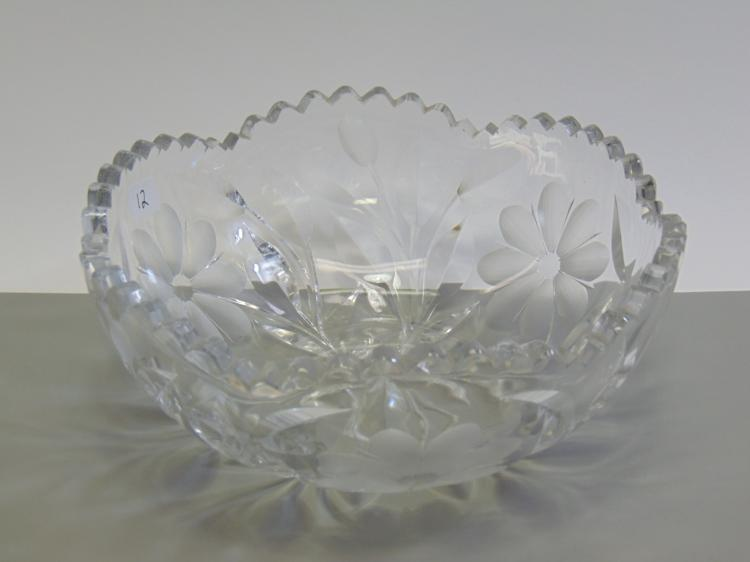 Heavy Cut Crystal Flower Bowl