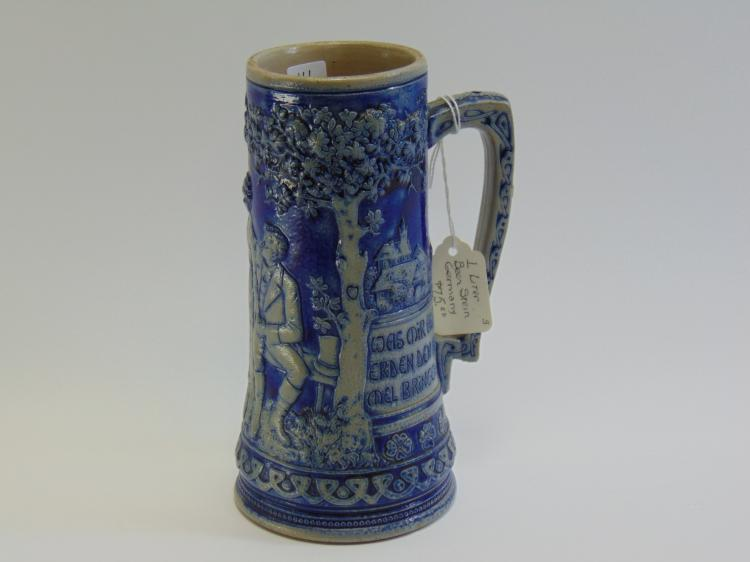 1950s Majolica Cobalt Blue German Beer Stein