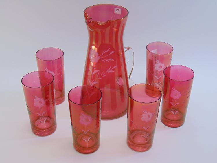 Depression Era Pink Cut Crystal Flash Glass and Pitcher Set