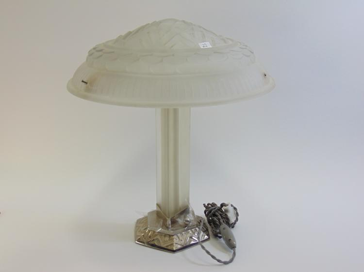 Art Deco Frosted Glass and Metal Desk Lamp