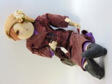 Lot 23: Galeries Lafayette 1930s Fabric Marie D'O Doll with Original Tag