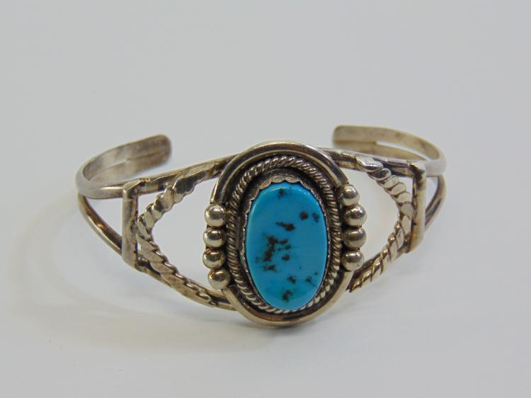 Lot 25: 21.8 Gram Navajo Sterling Silver and Turquoise Cuff Bracelet Signed JT