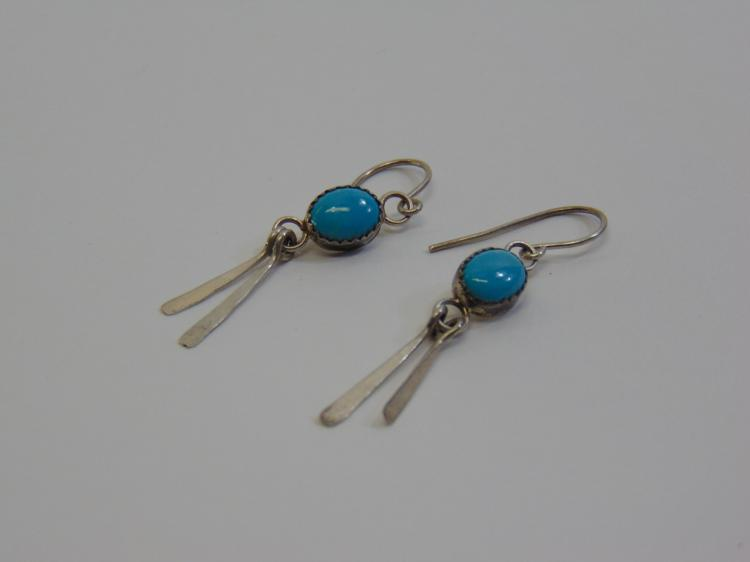 Lot 27: Sterling Silver and Turquoise Navajo Dangle Earrings Signed J. Manuelito