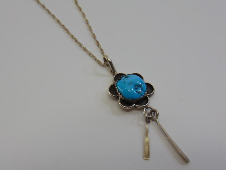 "Lot 29: Sterling Silver and Turquoise Navajo Pendant Necklace and 20"" Chain Signed J. Manuelito"