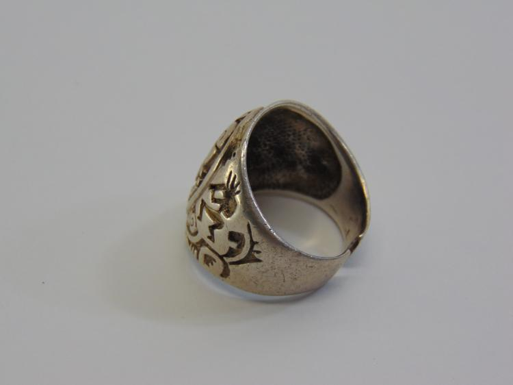 Lot 30: 15.6 Gram Chunky Native American Kokopelli Ring Sz 11