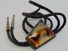 Lot 33: Nickel Silver and Montana Agate Bolo Tie