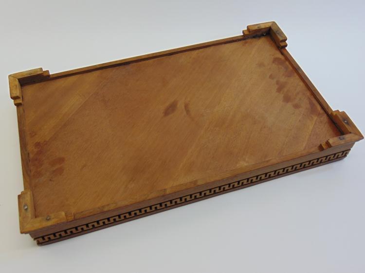 Lot 34: 1920s Handmade Walnut Greek Key Dresser Tray