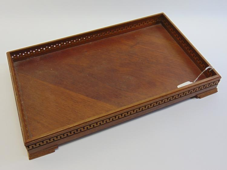 1920s Handmade Walnut Greek Key Dresser Tray