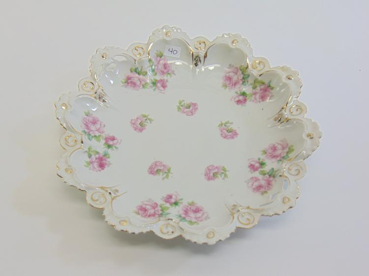 Lot 40: 1900s Austria MZ Pink Rose Scalloped Edge Porcelain Egg Dish