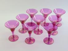 Lot 41: Lot of 9 Vintage Purple Carnival Martini Glasses