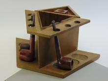 Lot 46: Lot of Vintage Wooden Dog Tobacco Humidor Six Pipe Stand & 3 Briar Wood Pipes Including Brewester and Amphora