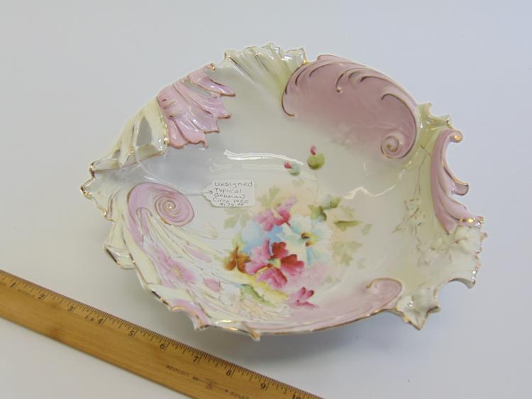 Lot 49: Antique Hand Painted Porcelain Flower Bowl